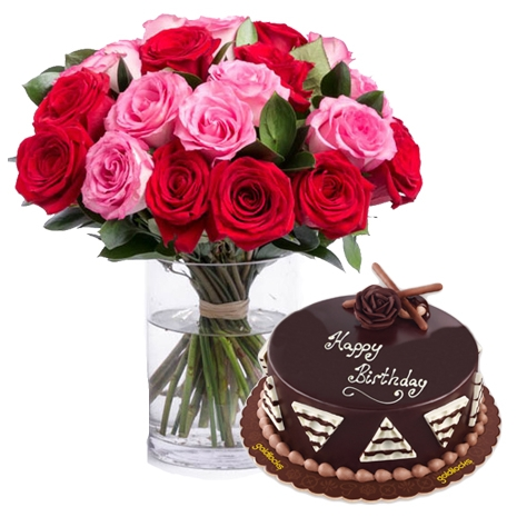 18 Red and Pink Roses with Chocolate Cake