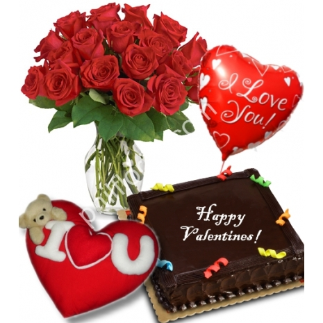 12 Red Roses Vase,Chocolate Cake,Love Balloon with Love Pillow
