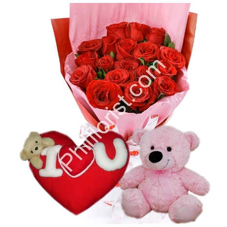 send 12 red roses with pillow and bear to philippines