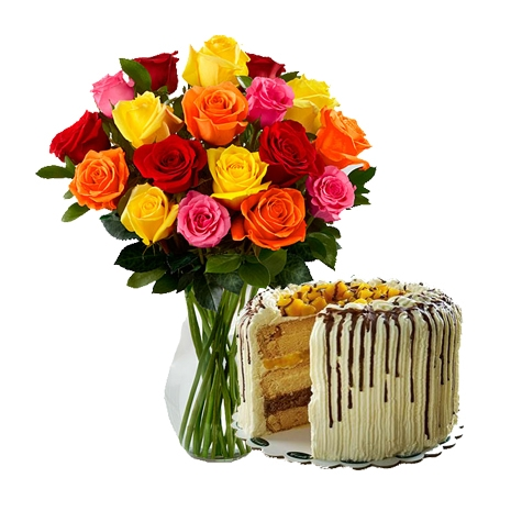 mango bravo cake with 18 mixed roses to philippines