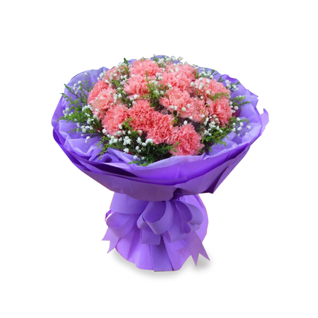 24 Pink Carnations in Bouquet
