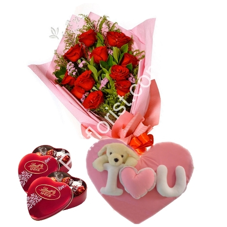 Send red roses,lindt chocolate box with wesley Pillow & bear to Philippines