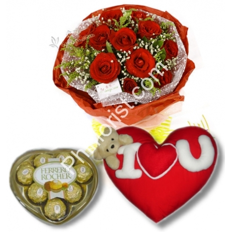 Send red rose bouquet,ferrero rocher box with wesley Pillow to Philippines