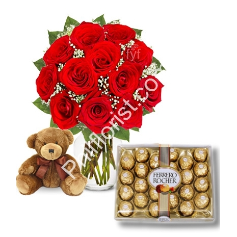 Send red roses vase 24 pcs ferrero box with mini bear to Philippines