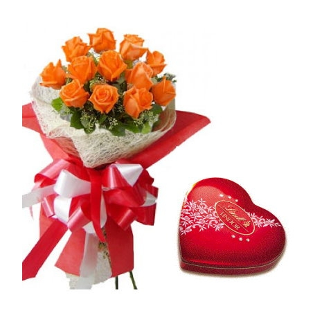 send 12 orange roses with lindt chocolate to philippines