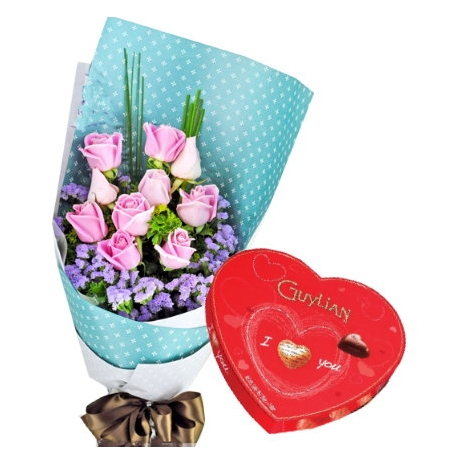 send to pink roses with guylian chocolate to philippines