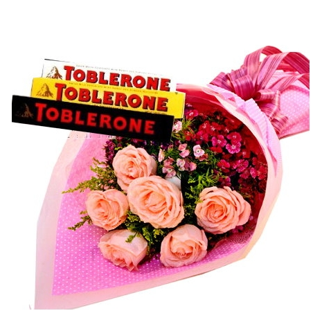send half dozen pink roses with toblerone chocolate to philippines