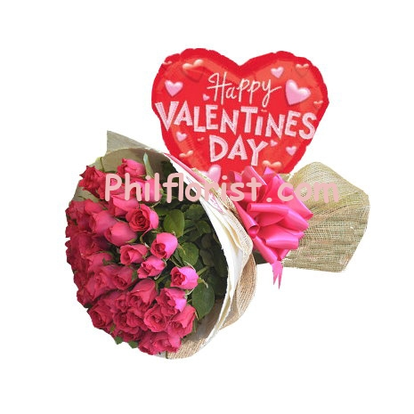24 Pink Roses Bouquet w/ Valentines Balloon to Philippines