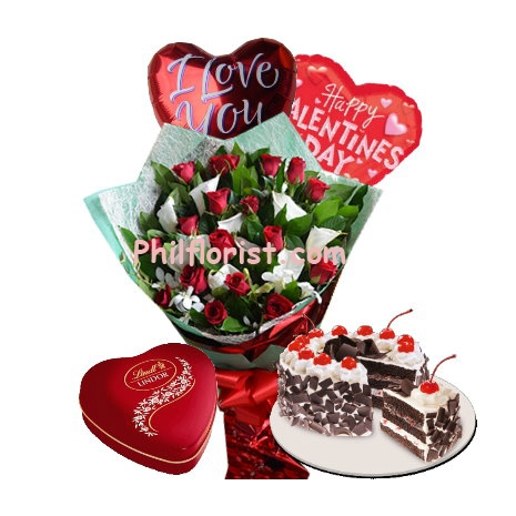 12 Red Roses & Lilies,Balloon, Cake w/ Chocolate to Philippines
