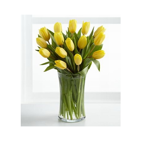 12 yellow tulips with free vase send to philippines