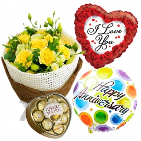 6 yellow roses with chocolate and balloon to philippines