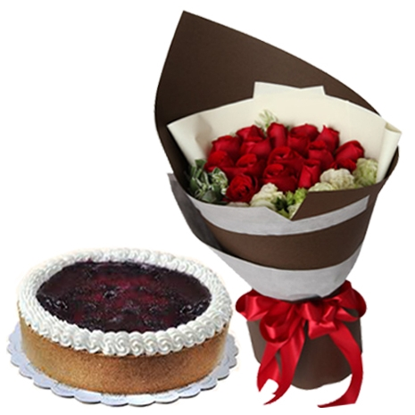 buy roses bouquet with blueberry cheesecake to philippines