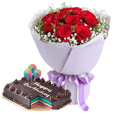 roses bouquet with rainbow cake online philippines