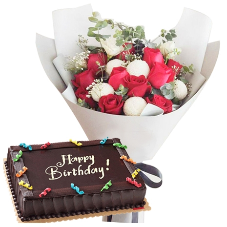 Buy Flowers Bouquet With Cake To Philippines