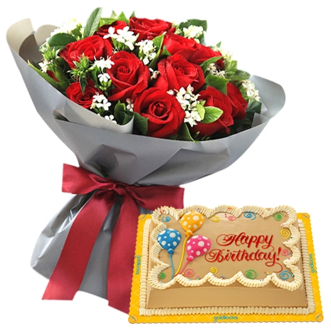 12 Red Roses Bouquet With Mocha Chiffon Birthday Cake