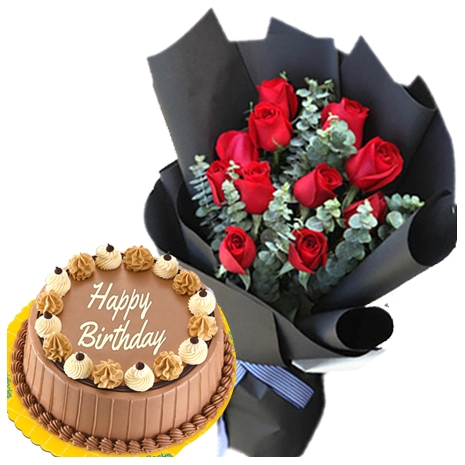 Send Birthday Cake With Flowers To Philippines One Dozen Roses Triple Delight Delivery In
