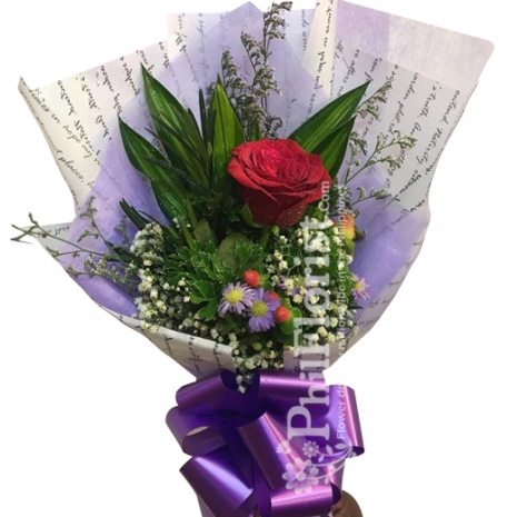 1 piece pink rose in bouquet to philippines