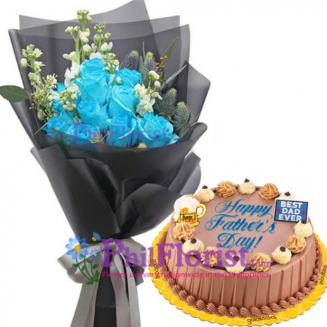 12 Blue Roses with Chocolate Dedication Cake