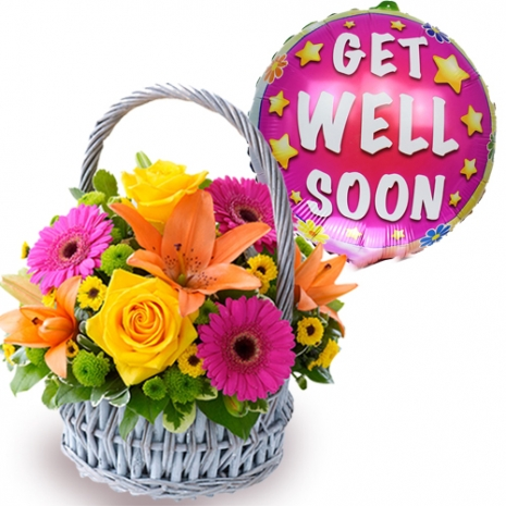 buy flowers basket with get well balloon philippines