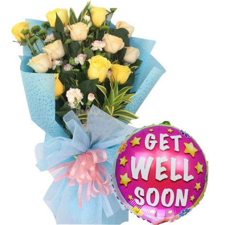Mixed Roses with Get Well Soon