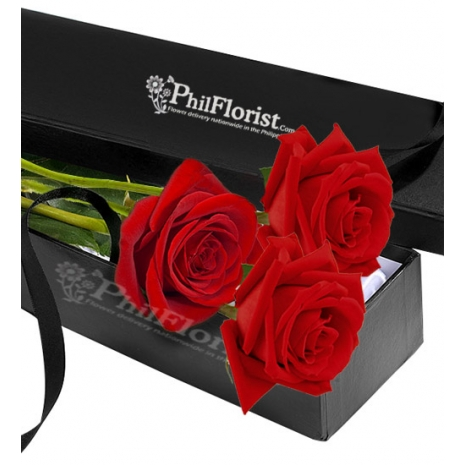 Send 3 Pcs Red Rose in Box to Philippines