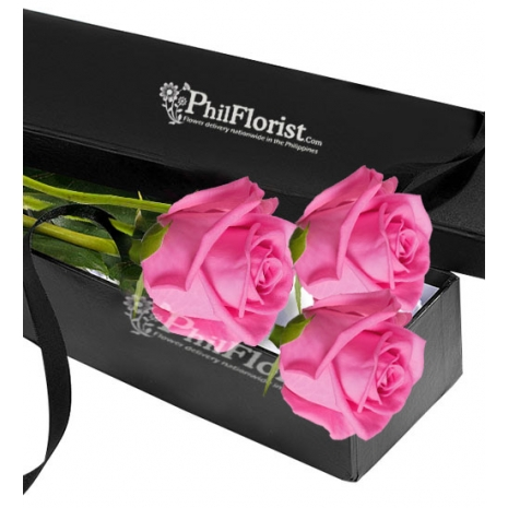 Send 3 Pcs Pink Rose in Box to Philippines
