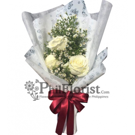 3 White Roses Bouquet