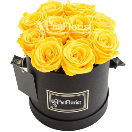 12 Yellow Roses in Box To Philippines
