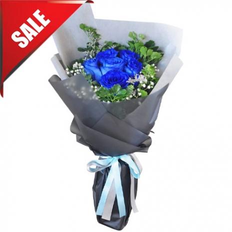 Send Half Dozen Blue  Roses Bouquet to Philippines