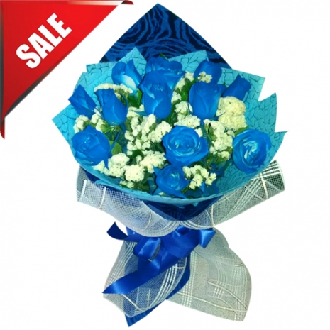 Send V-Day 12 Blue Roses Bouquet to Philippines