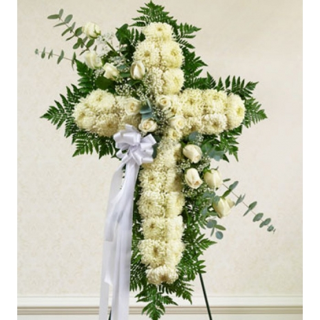 Send White Rose Standing Cross to Philippines