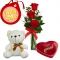 Send V-Day 3 Red Roses, Bear with Chocolate to Philippines