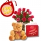 V-Day 12 Red Roses with Chocolate & Bear to Philippines