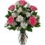 6 Pink Roses with Seasonal Flowers in Vase