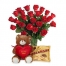 24 Red Roses in Vase with Chocolate & Bear