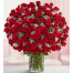 99 Red Roses in Vase with Greenery