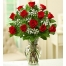 12 Red Roses in Vase with Greenery