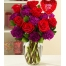 6 Red Roses in Vase with Gerbera