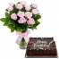 12 Pink Roses in Vase with Chocolate Cake