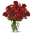 8 Red Roses in Vase with Gerbera