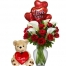 12 Roses & Lily Vase,Heart Bear w/ Love U Balloon to Philippines