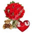 Send 24 red rose vase brown bear with Wesley Pillow to Philippines