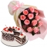 Black Forest Cake with 12 Pink Roses