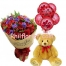 12 Red Roses Bouquet,Love you Balloons w/ Bear to Philippines