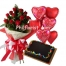 12 Red Roses Bouquet,Balloon w/ Chocolate Cake Send to Philippines