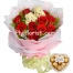 12 red roses bouquet with 2 mini bear ferrero heart shape box to philippines