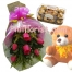 6 pink roses bouquet,ferrero rocher box with bear send to pilippines
