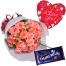 12 pink roses with cadbury and balloon to philippines