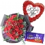 24 red roses with cadbury and balloon to philippines