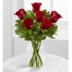 6 Red Roses in Vase with Greenery
